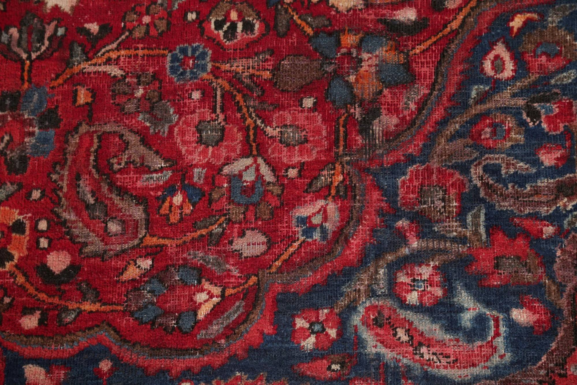 Antique Floral Mood Persian Hand-Knotted 10x13 Wool Area Rug