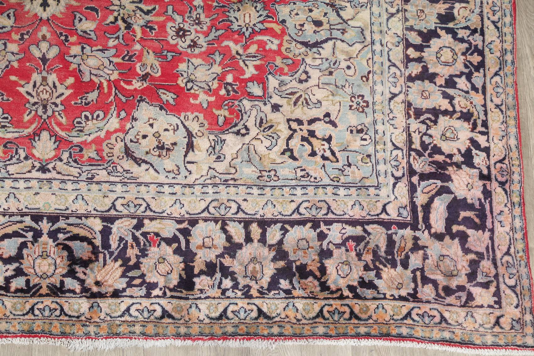 Floral Red Najafabad Persian Hand-Knotted 9x12 Wool Area Rug