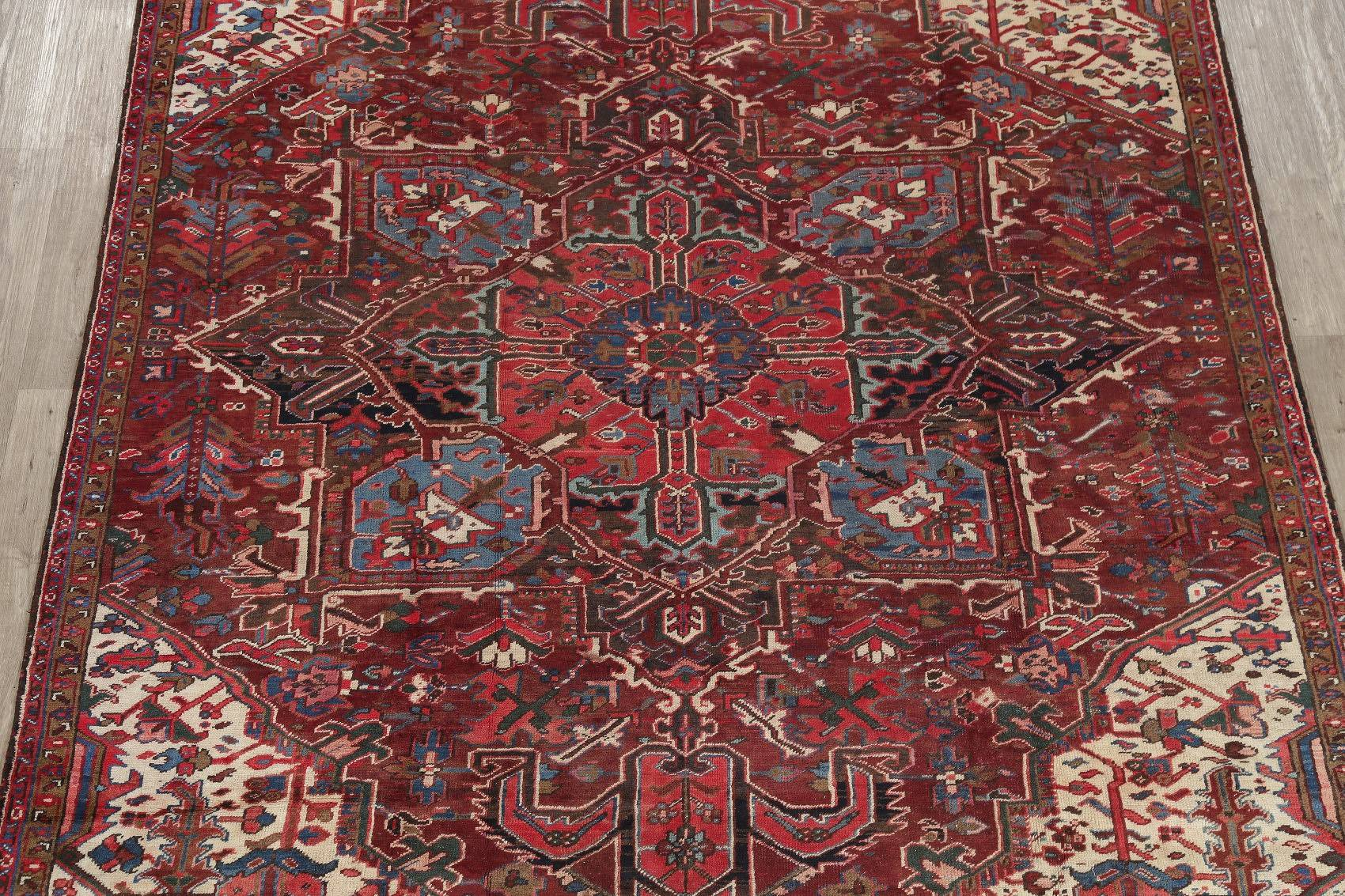 Antique Geometric Heriz Persian Hand-Knotted 8x12 Wool Area Rug