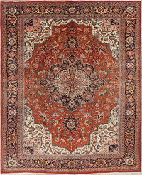 Orange Geometric Heriz Persian Hand-Knotted 9x12 Wool Area Rug