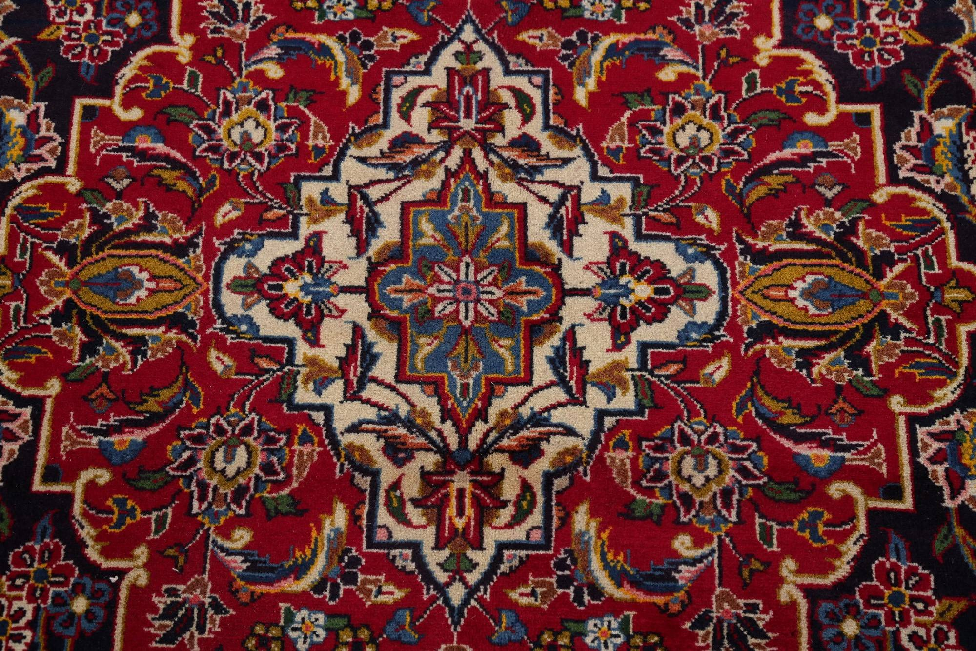 Traditional Floral Kashan Persian Hand-Knotted 10x14 Wool Area Rug