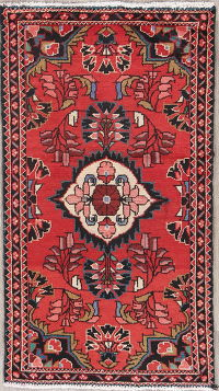 Floral Red Lilian Hamedan Persian Hand-Knotted 2x4 Wool Rug