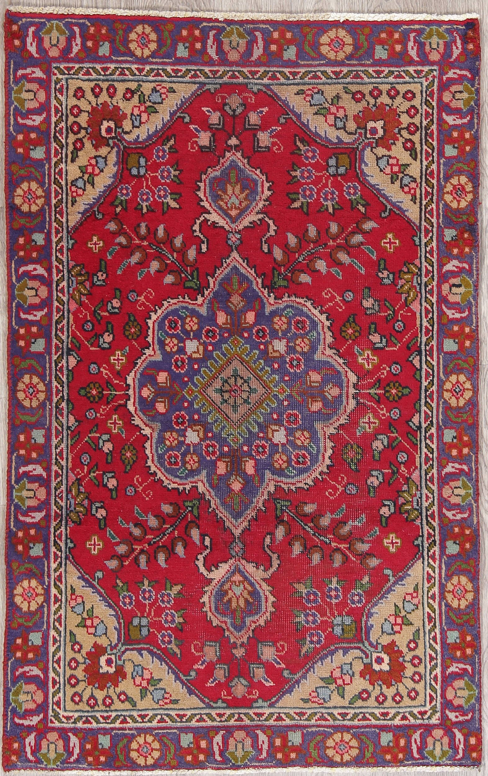 Geometric Pink Red Tabriz Persian Hand Knotted 3x5 Wool Rug