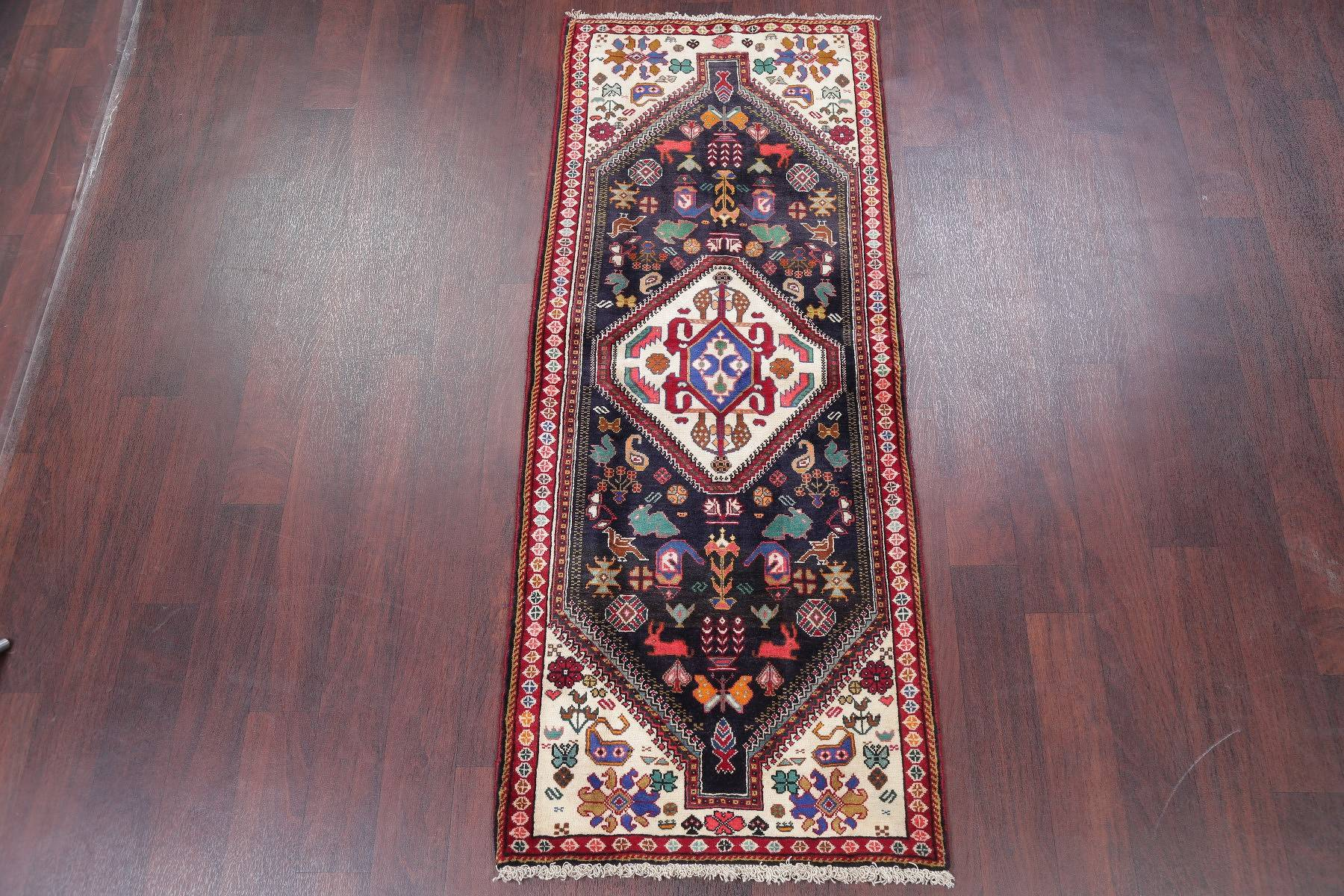 Animal Pictorial Tribal Abadeh Persian Hand-Knotted 2x6 Navy Blue Runner Rug