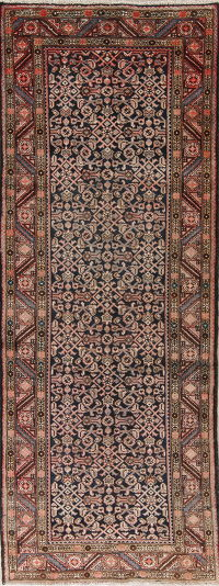 Antique Black Geometric Hamedan Persian 4x10 Wool Runner Rug