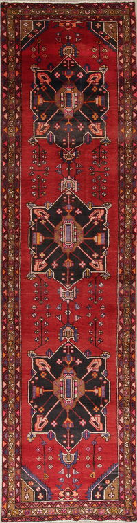 One-of-a-Kind Red Geometric Heriz Persian Hand-Knotted 3x13 Wool Runner Rug