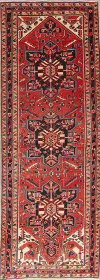 One-of-a-Kind Red Geometric Heriz Persian Hand-Knotted 4x11 Wool Runner Rug