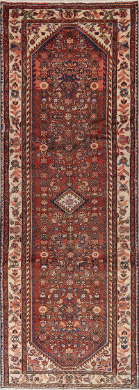 Geometric Hamedan Persian Hand-Knotted 4x10 Wool Runner Rug
