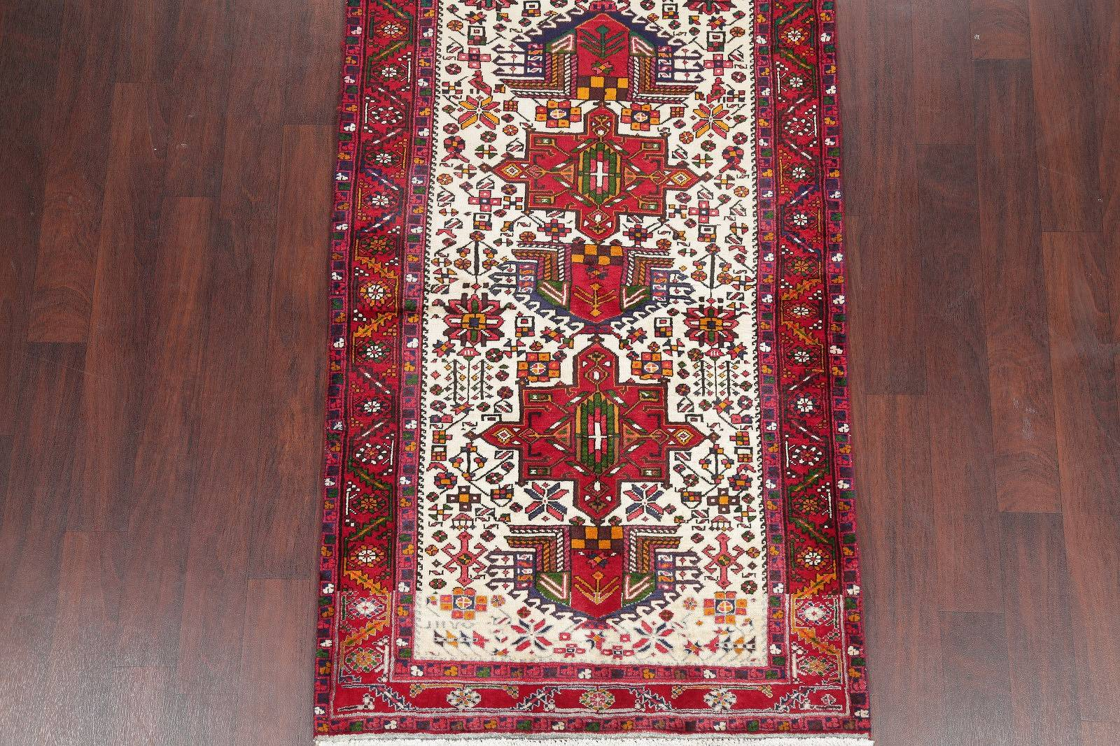 One-of-a-Kind Ivory Geometric Heriz Persian Hand-Knotted 4x10 Wool Runner Rug