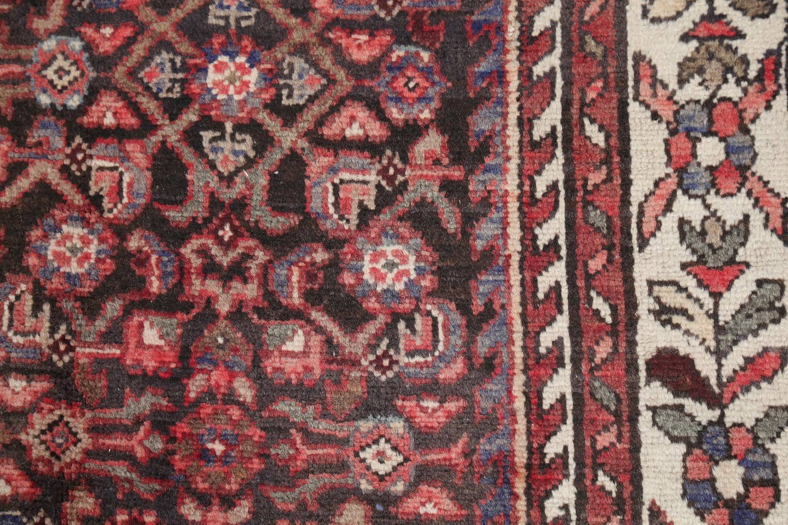 One-of-a-Kind Geometric Hamedan Persian Hand-Knotted 4x11 Wool Runner Rug