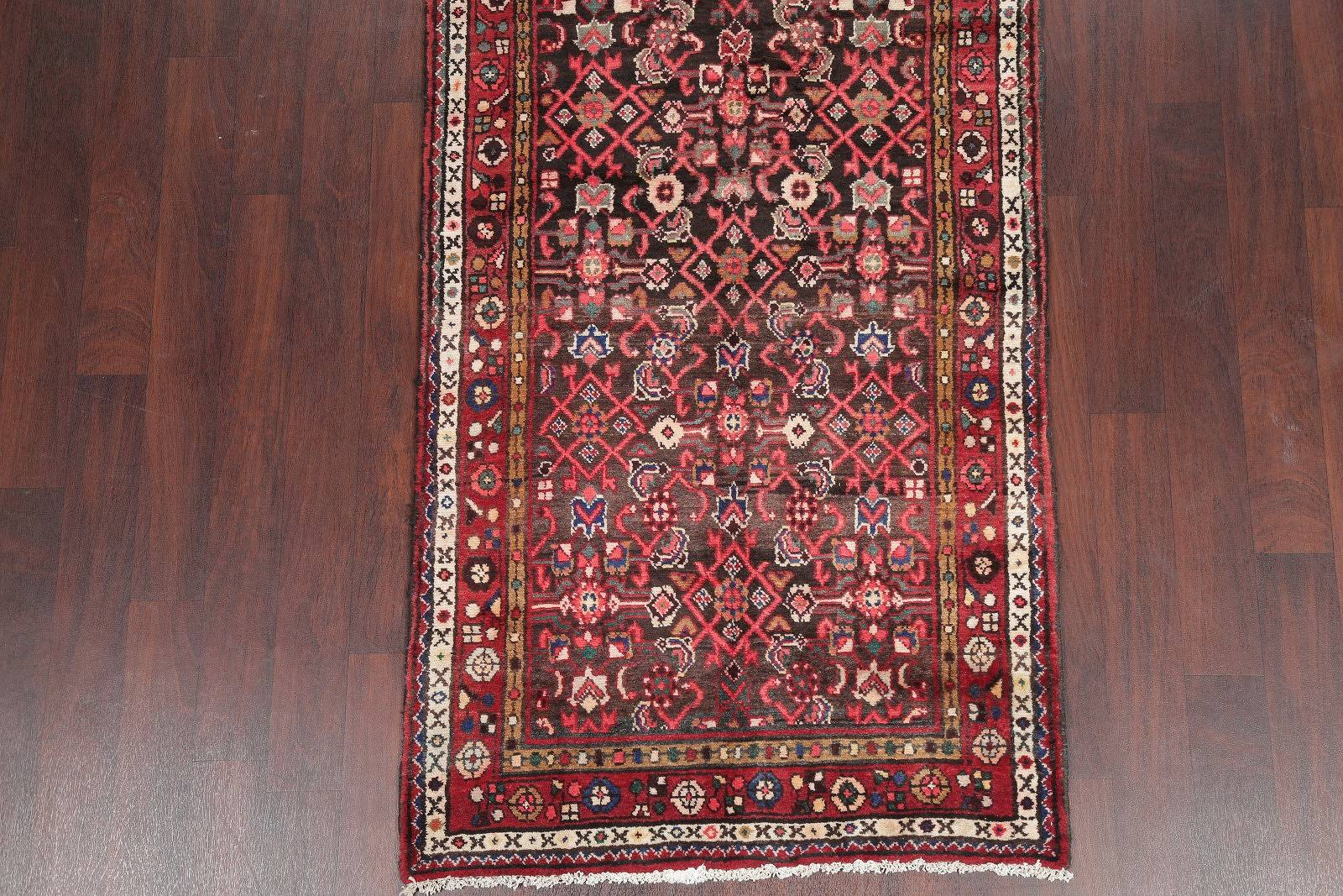 All-Over Hamedan Persian Hand-Knotted 4x10 Wool Runner Rug