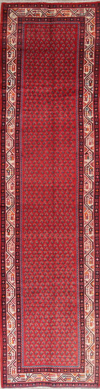 One-of-a-Kind Paisley Red Botemir Persian Hand-Knotted 3x13 Wool Runner Rug