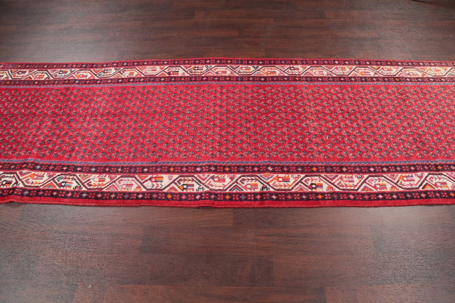 One-of-a-Kind Boteh Botemir Persian Runner Rug 3x13 image 14