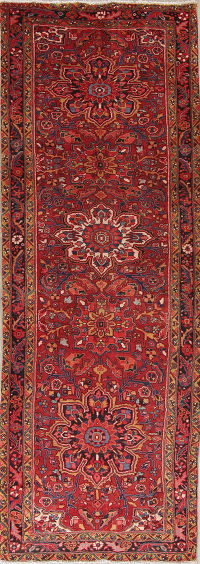 Red Geometric Heriz Persian Hand-Knotted 4x11 Wool Runner Rug
