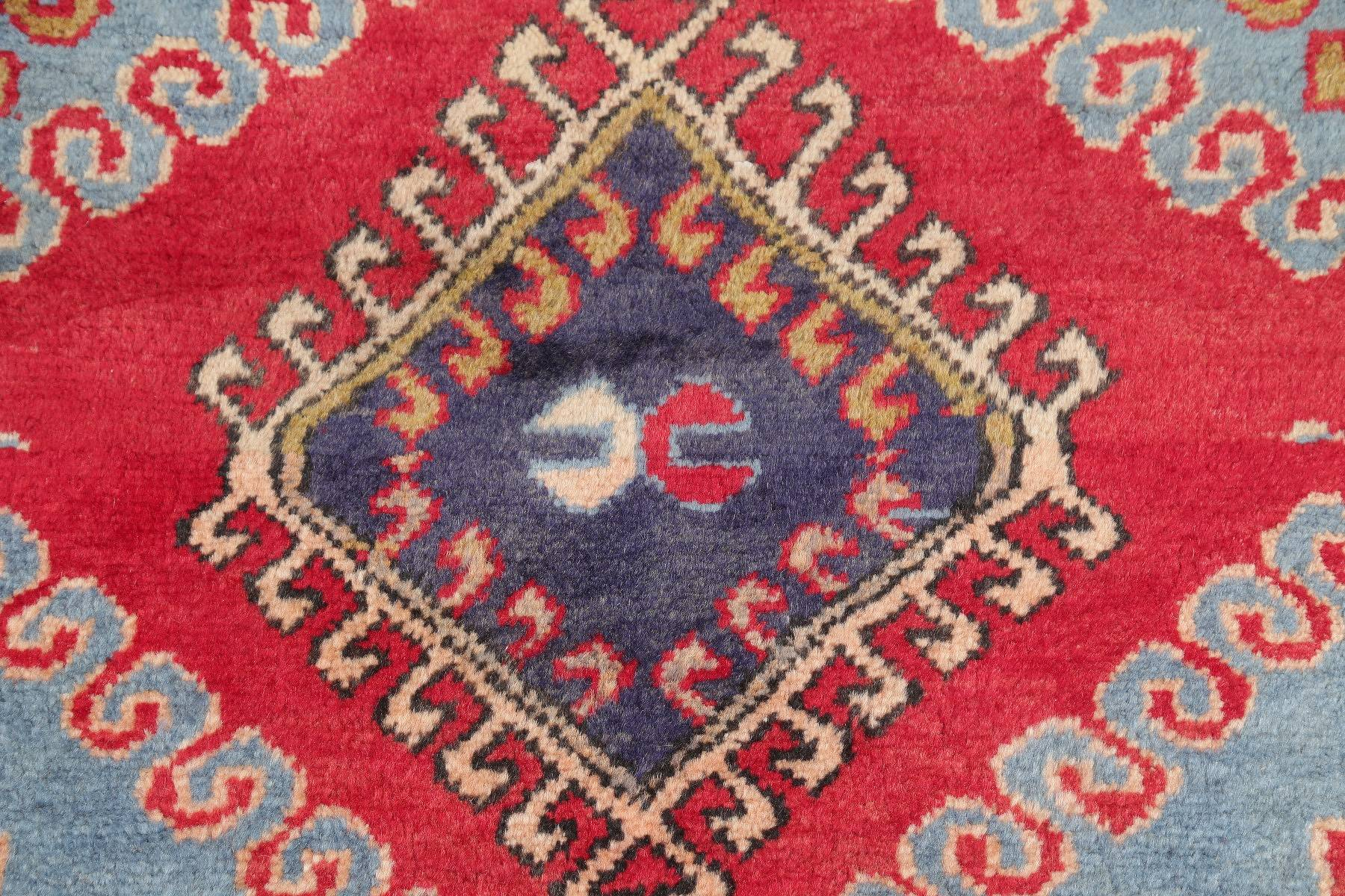 Blue Geometric Ardebil Persian Hand-Knotted 3x9 Wool Runner Rug