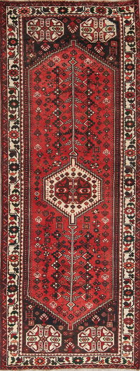 Red Geometric Shiraz Persian Hand-Knotted 4x10 Wool Runner Rug
