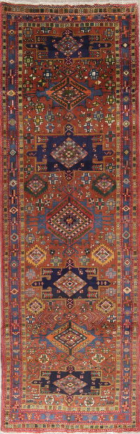 Geometric Rust Tribal Heriz Serapi Persian Hand-Knotted 4x11 Runner Rug