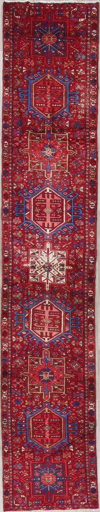 Tribal Gharajeh Persian Hand-Knotted 2x12 Wool Narrow Runner Rug