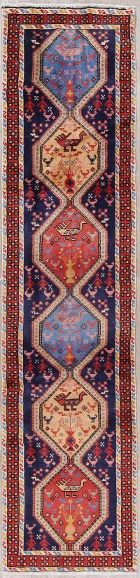 Tribal Geometric Ardebil Persian Hand-Knotted 2x10 Blue Runner Rug