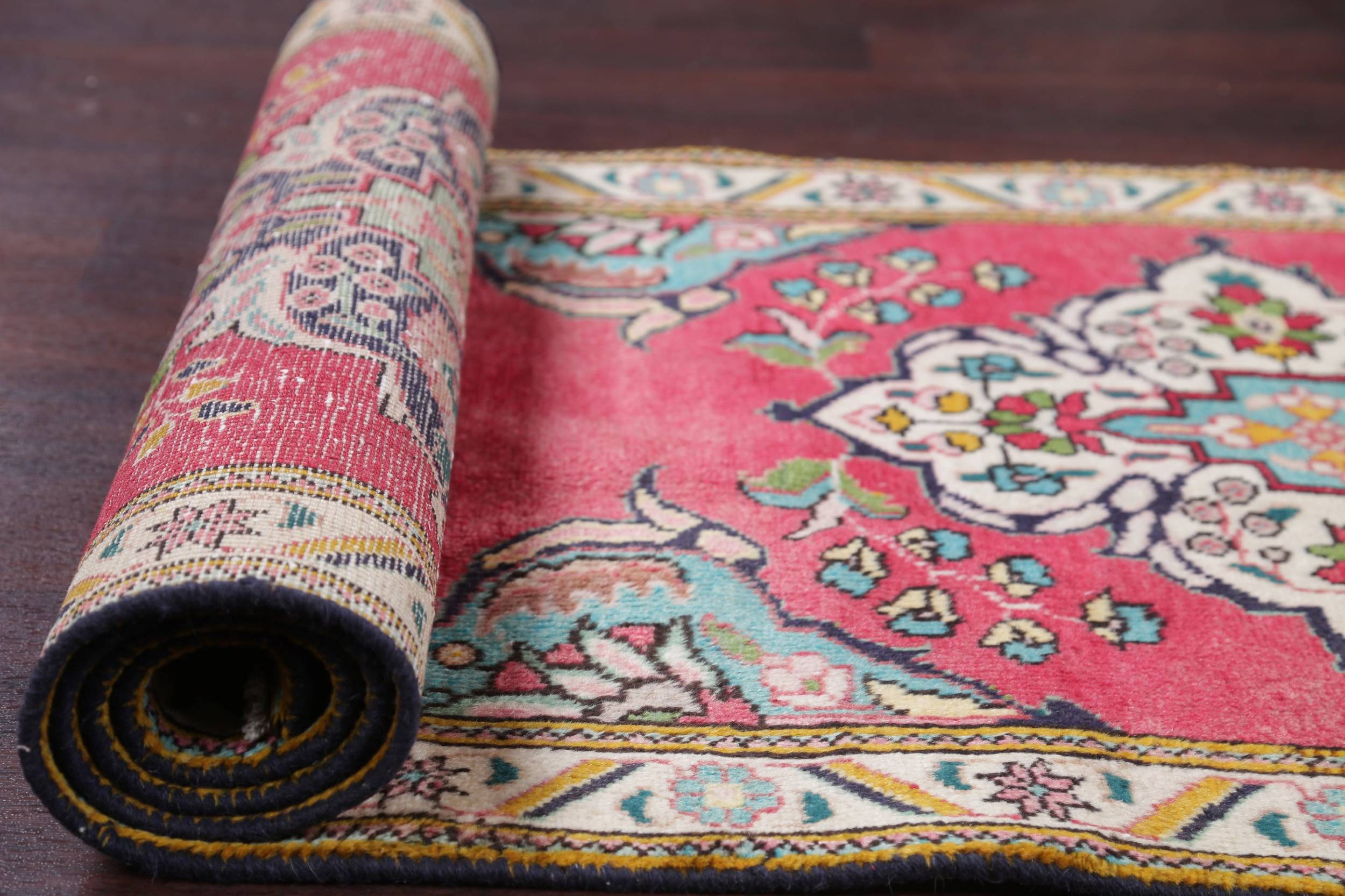 One-of-a-Kind Floral Red Tabriz Persian Hand-Knotted 3x11 Wool Runner Rug