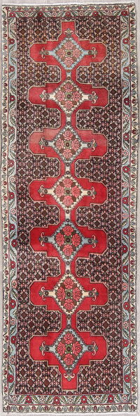 One-of-a-Kind Geometric Bidjar Persian Hand-Knotted 3x8 Wool Runner Rug