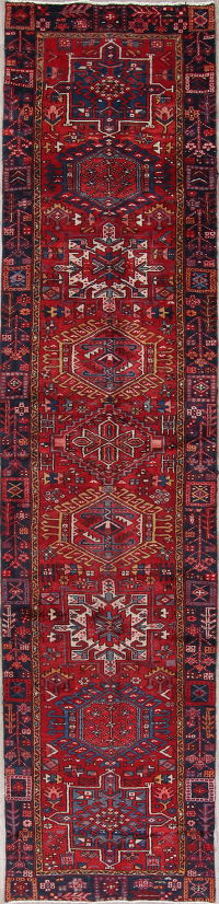 Tribal Red Gharajeh Persian Hand-Knotted 3x14 Wool Runner Rug