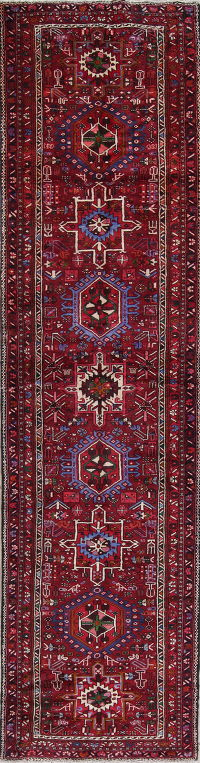 Tribal Red Gharajeh Persian Hand-Knotted 4x14 Wool Runner Rug