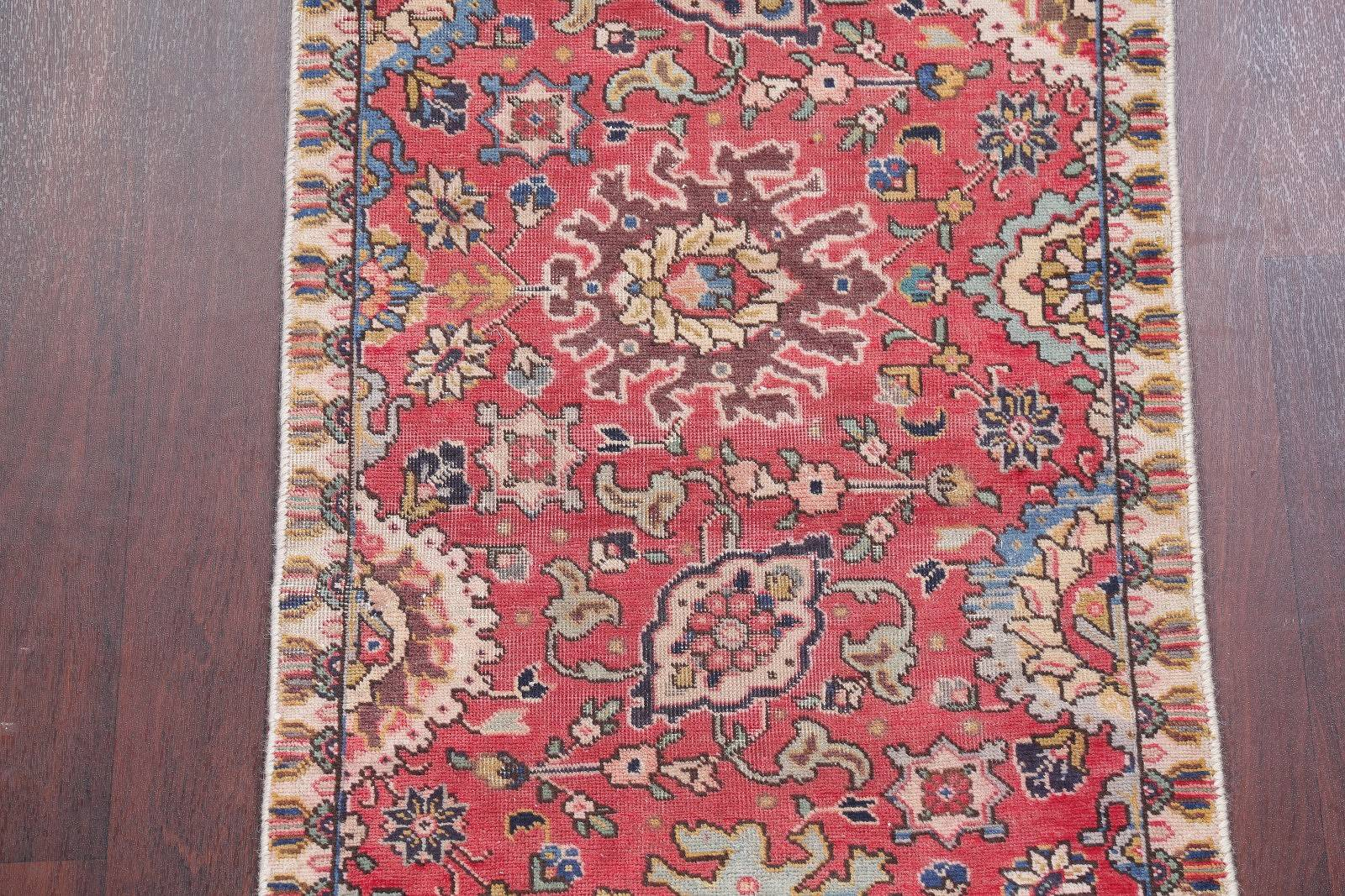 Antique All-Over Floral Tabriz Persian Hand-Knotted 3x10 Red Runner Rug