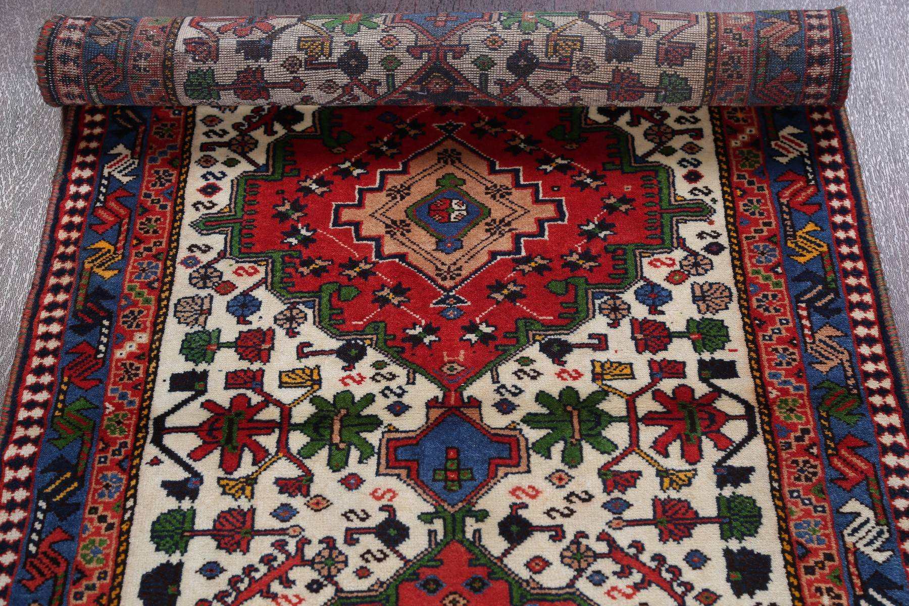 Geometric Yalameh Persian Hand-Knotted 3x10 Ivory Runner Rug