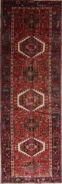 Tribal Red Gharajeh Persian Hand-Knotted 4x11 Wool Runner Rug