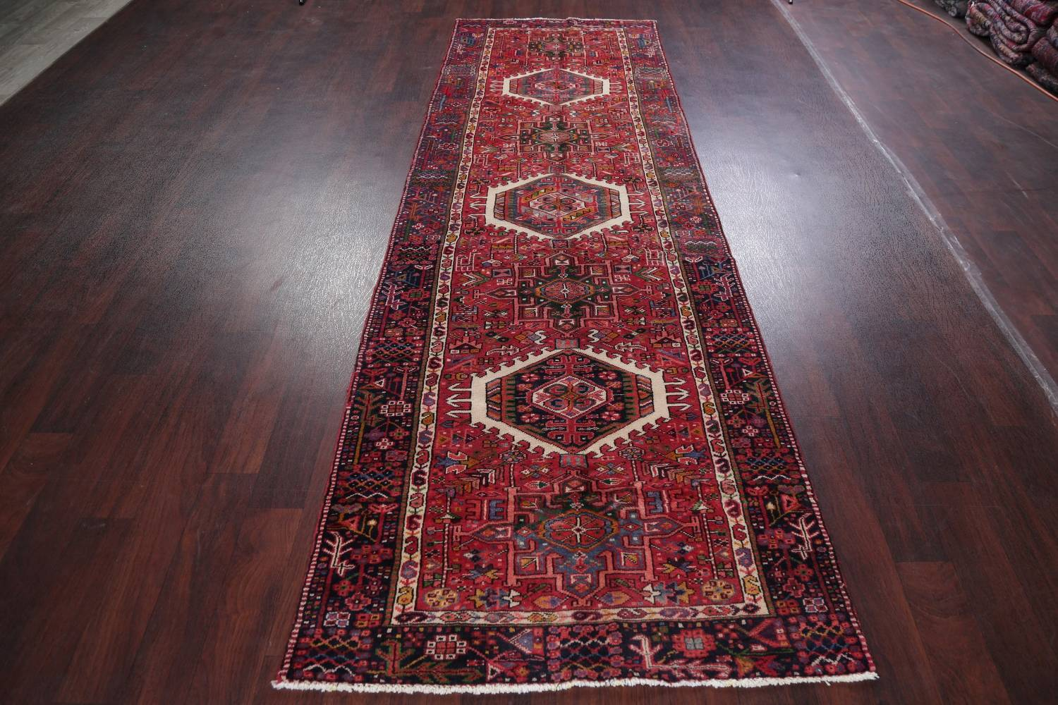 Tribal Red Gharajeh Persian Hand-Knotted 4x11 Wool Runner Rug image 14