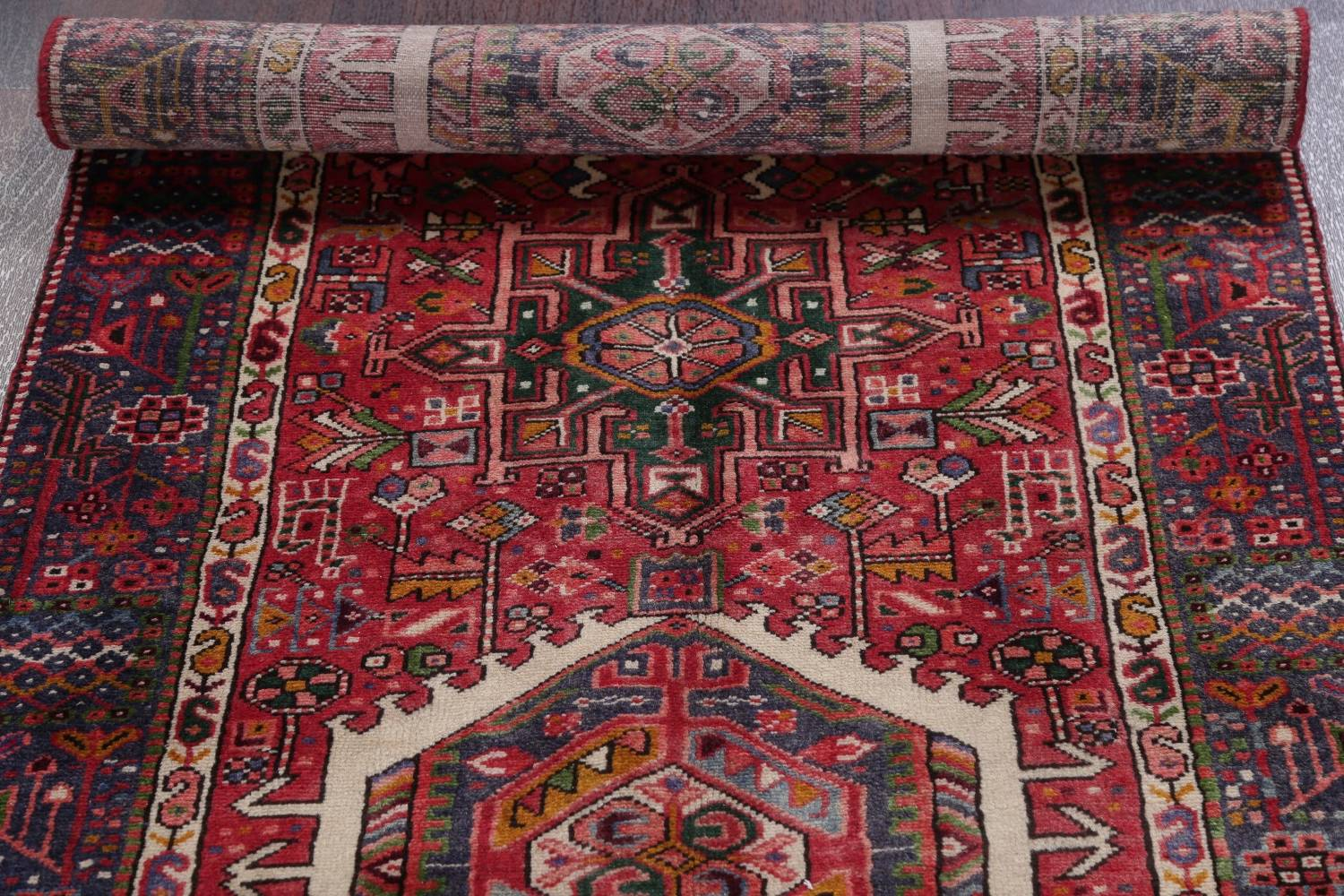 Tribal Red Gharajeh Persian Hand-Knotted 4x11 Wool Runner Rug image 16