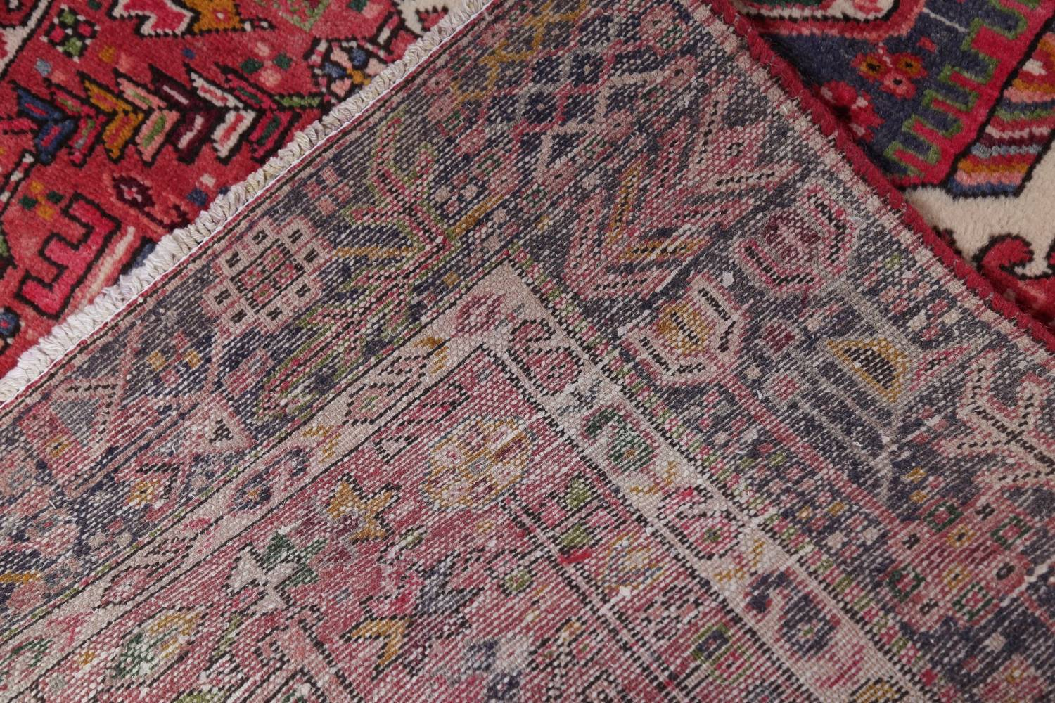 Tribal Red Gharajeh Persian Hand-Knotted 4x11 Wool Runner Rug image 20