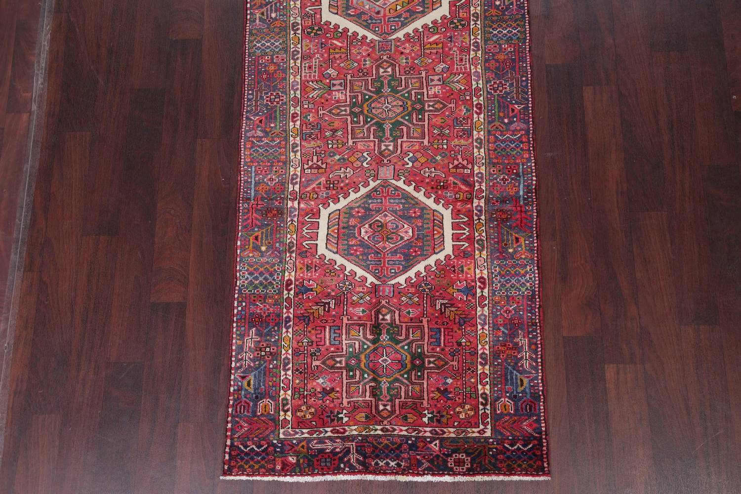 Tribal Red Gharajeh Persian Hand-Knotted 4x11 Wool Runner Rug image 5