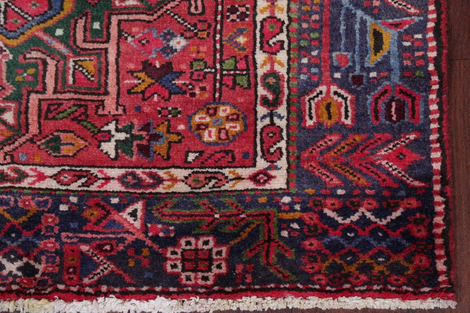 Tribal Red Gharajeh Persian Hand-Knotted 4x11 Wool Runner Rug image 6