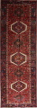Tribal Red Gharajeh Persian Hand-Knotted 4x11 Wool Runner Rug image 1