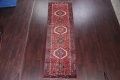 Tribal Red Gharajeh Persian Hand-Knotted 4x11 Wool Runner Rug image 2