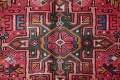 Tribal Red Gharajeh Persian Hand-Knotted 4x11 Wool Runner Rug image 7