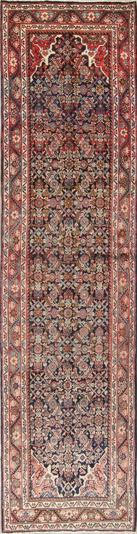 Antique Geometric Mahal Hamedan Persian Hand-Knotted 4x13 Runner Rug