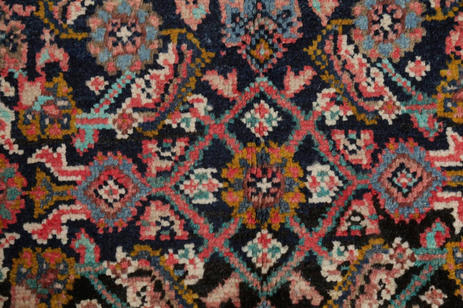 Antique Geometric Mahal Hamedan Persian Hand-Knotted 4x13 Runner Rug image 8
