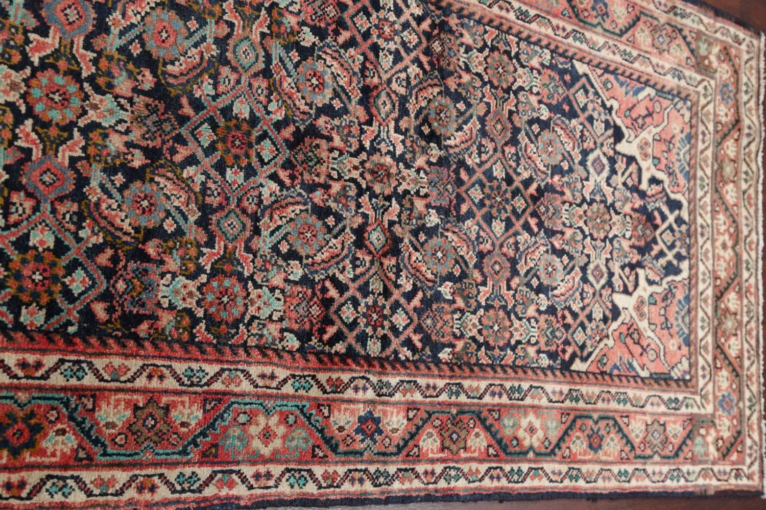 Antique Geometric Mahal Hamedan Persian Hand-Knotted 4x13 Runner Rug image 11