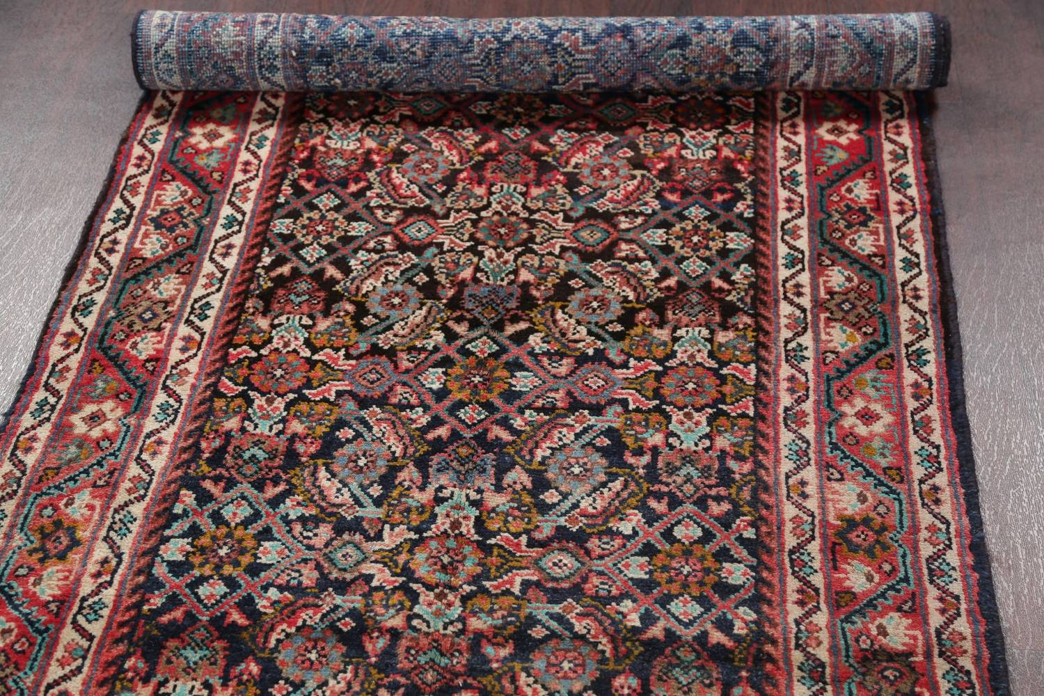 Antique Geometric Mahal Hamedan Persian Hand-Knotted 4x13 Runner Rug image 14