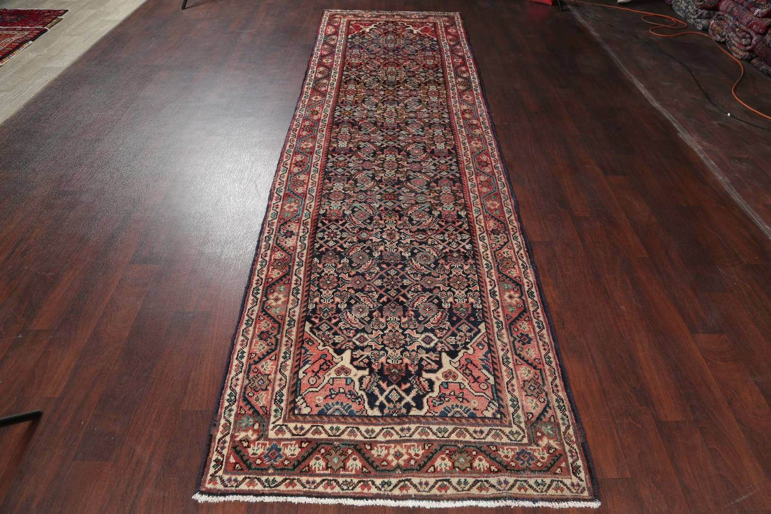 Antique Geometric Mahal Hamedan Persian Hand-Knotted 4x13 Runner Rug image 13