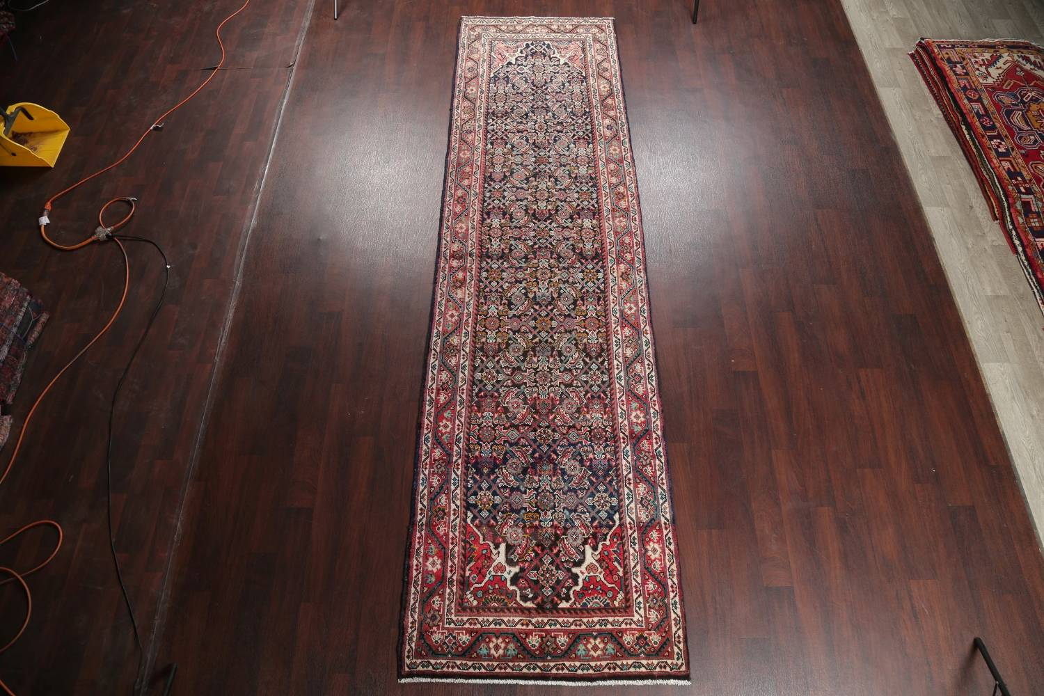 Antique Geometric Mahal Hamedan Persian Hand-Knotted 4x13 Runner Rug image 2