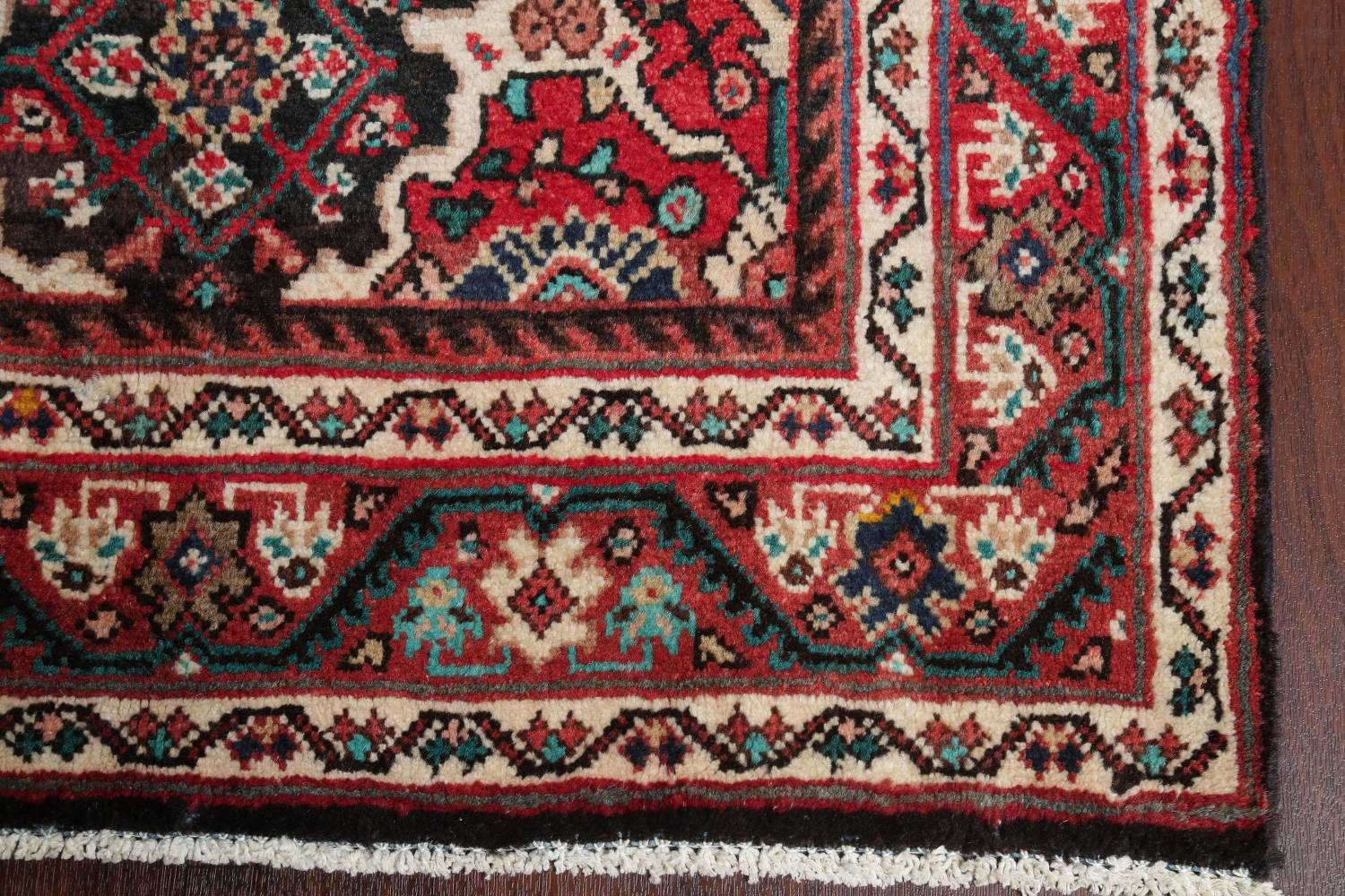 Antique Geometric Mahal Hamedan Persian Hand-Knotted 4x13 Runner Rug image 6