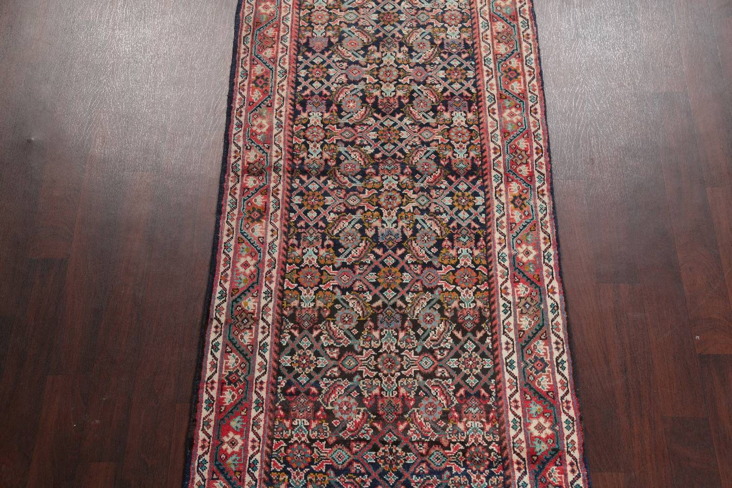 Antique Geometric Mahal Hamedan Persian Hand-Knotted 4x13 Runner Rug image 3