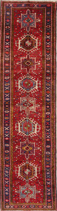 One-of-a-Kind Red Geometric Heriz Persian Hand-Knotted 4x13 Wool Runner Rug