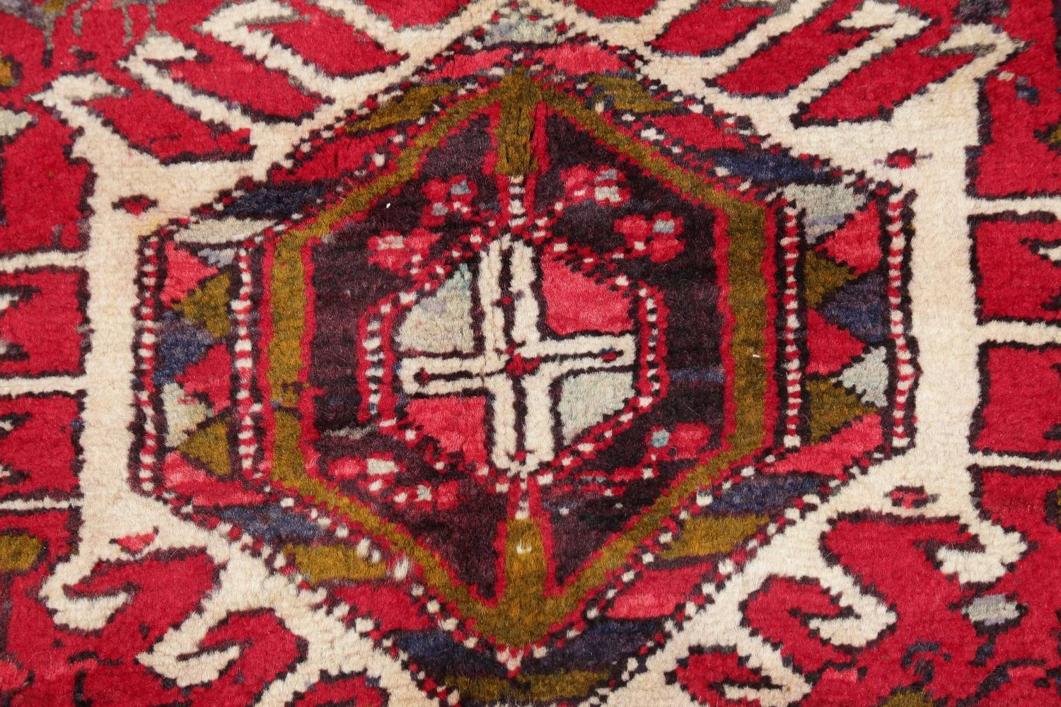 One-of-a-Kind Red Geometric Heriz Persian Hand-Knotted 4x13 Wool Runner Rug image 9
