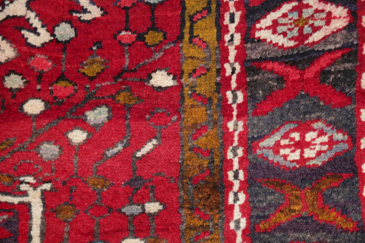One-of-a-Kind Red Geometric Heriz Persian Hand-Knotted 4x13 Wool Runner Rug image 8