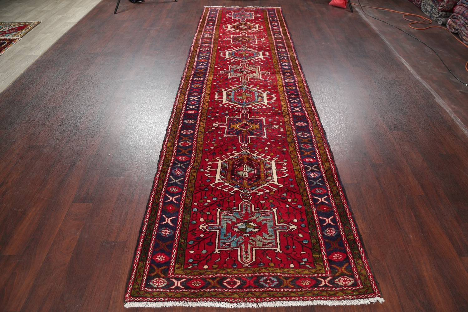 One-of-a-Kind Red Geometric Heriz Persian Hand-Knotted 4x13 Wool Runner Rug image 15